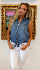 Sleeveless Tie Front Denim Top