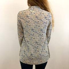 Grey Print Blouse at Charm Boutique