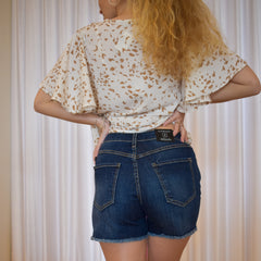 High Rise Frayed Denim Shorts