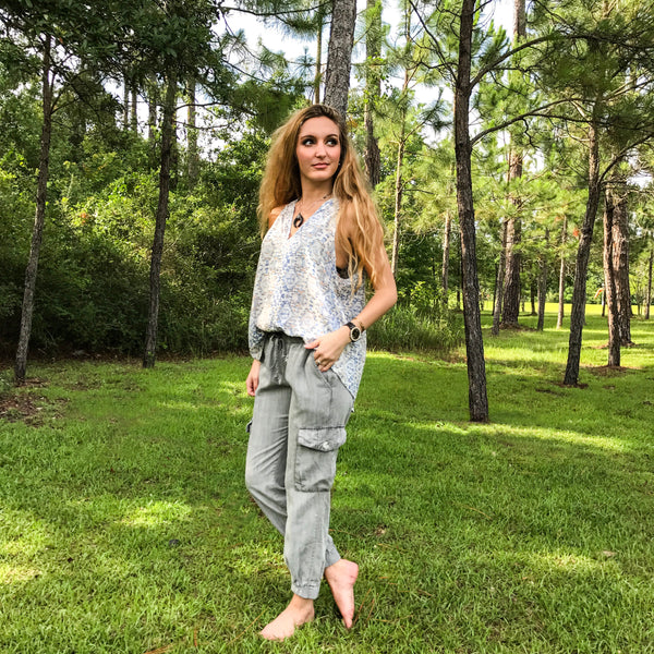 Grey Chambray Jogger Pant by Karlie at Charm Boutique