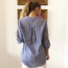 Stripe Tab Sleeve Blouse by Karlie at Charm Boutique