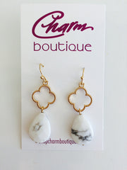 Clover & Teardrop Stone Earring at Charm Boutique