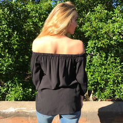 Embroidered Off The Shoulder Top by Skies are Blue at Charm Boutique