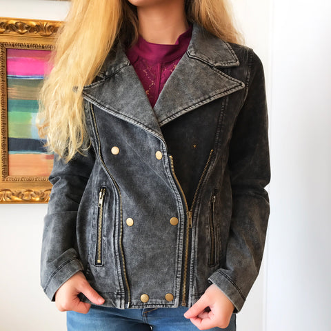 Washed Black Moto Jacket