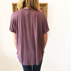 Eggplant Knot Front Tee by Wishlist at Charm Boutique