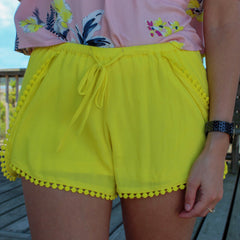 Caroline Lemon Yellow Shorts by BB Dakota at Charm Boutique in Gulf Shores