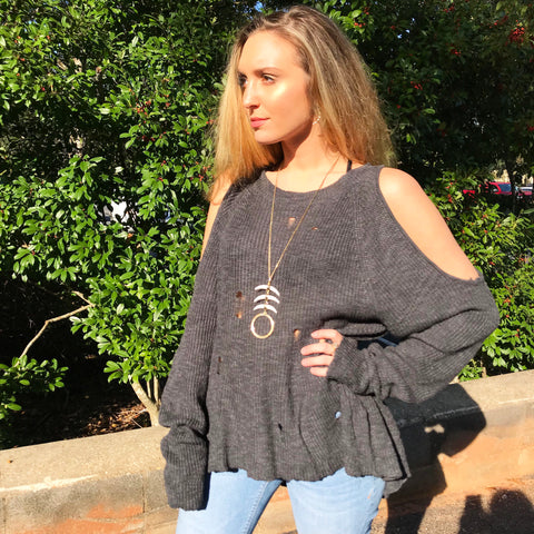 Charcoal Cold Shoulder Sweater