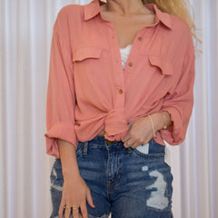 Might Be Linen Coral Blouse
