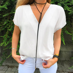 V-Neck Short Sleeve Blouse at Charm Boutique