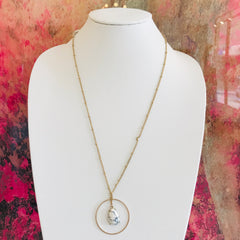 Teardrop Stone & Hoop Necklace