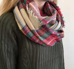 Tartan Plaid Infinity Scarf at Charm Boutique