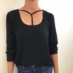 T Neck Blouse by Blu Pepper at Charm Boutique