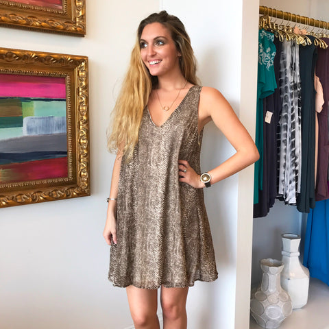 Brown Snake Print V-Neck Dress