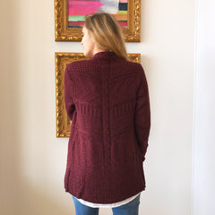 Wine Cable Knit Cardigan by Skies Are Blue at Charm Boutique