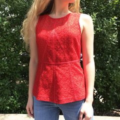 Red Lace Peplum Top by Skies are Blue at Charm Boutique