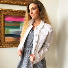 White Denim Jacket by Velvet Heart at Charm Boutique in Gulf Shores