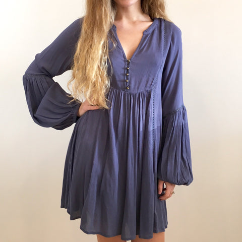 Boho Blue Gauze Dress