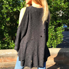 Charcoal Cold Shoulder Sweater by Dear Apple at Charm Boutique