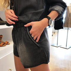 Charcoal Long Sleeve Tencel Romper by Skies Are Blue at Charm Boutique