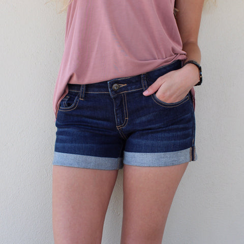 Low Rise Dark Wash Cutoff