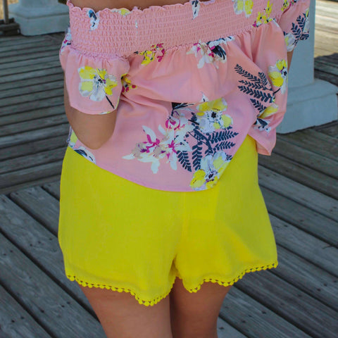 Caroline Lemon Yellow Shorts