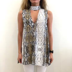 Snake Print Choker Neck Tunic by Karlie at Charm Boutique