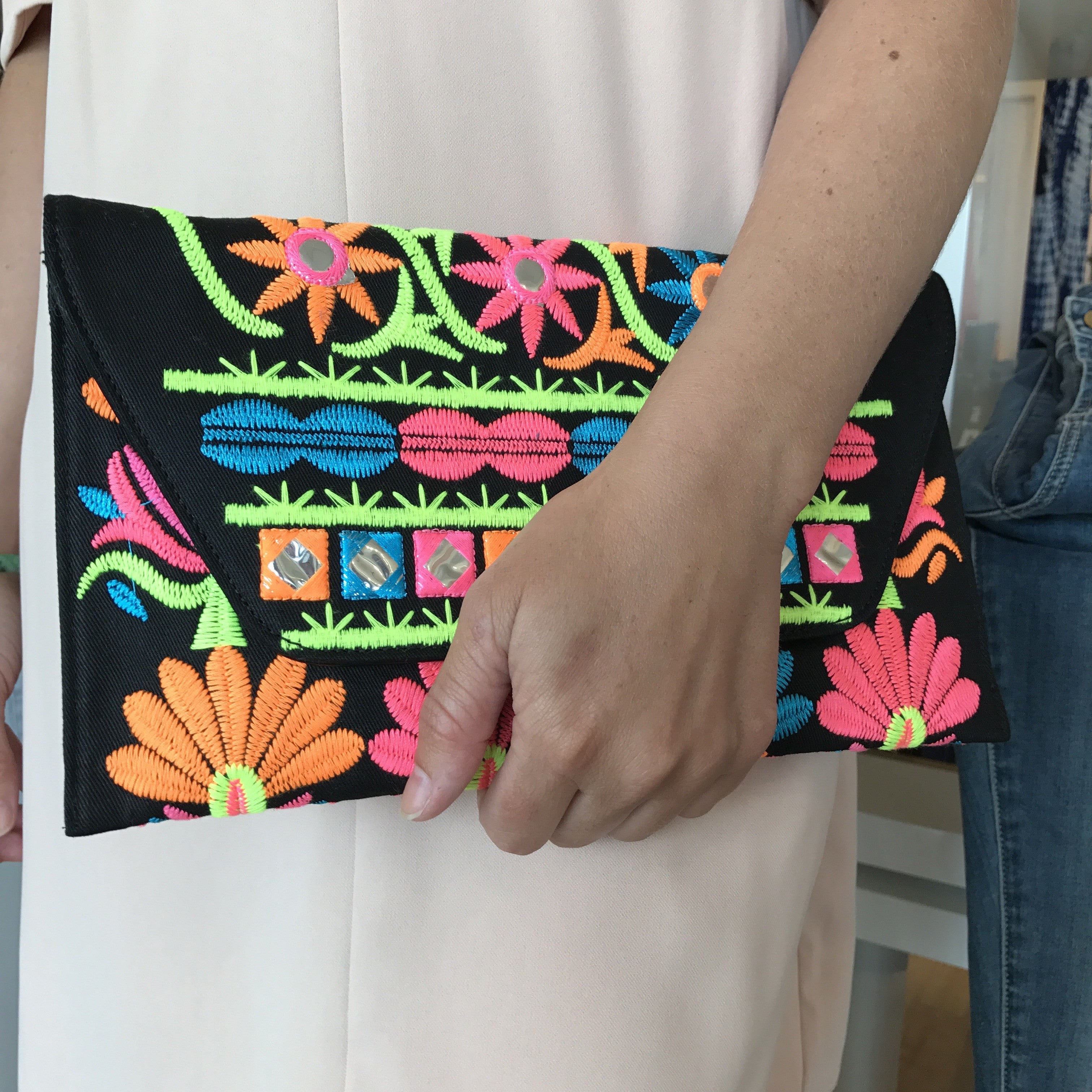 Neon Embroidered Envalope Clutch or Crossbody Bag at Charm Boutique