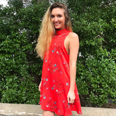 The Red Orange Floral Dress by By Together at Charm Boutique