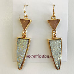 Druzy Triangle Drop Earring at Charm Boutique