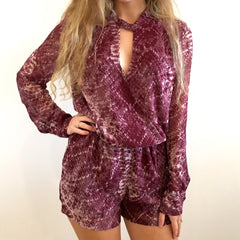 Snake Print Wrap Romper at Charm Boutique