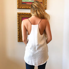Ivory Racer Back Cami Top by Mod Ref at Charm Boutique