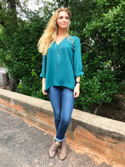 Teal Tab Sleeve Blouse by Caramela at Charm Boutique Gulf Shores