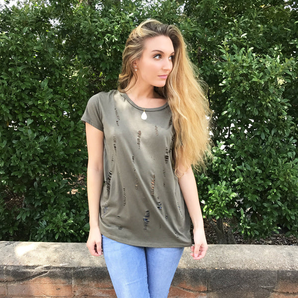 Tattered Cuts Olive Tee at Charm Boutique