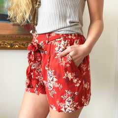 Floral Tie Front Short by Angie at Charm Boutique in Gulf Shores
