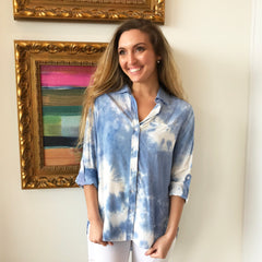 Elsa Blue Dolphin Tie Dye Blouse by Velvet Heart at Charm Boutique in Gulf Shores