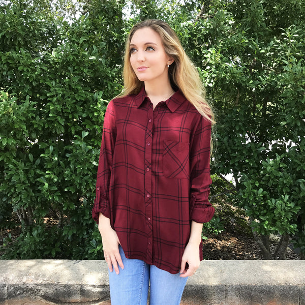 Wine Plaid Button Down Top by Staccato at Charm Boutique