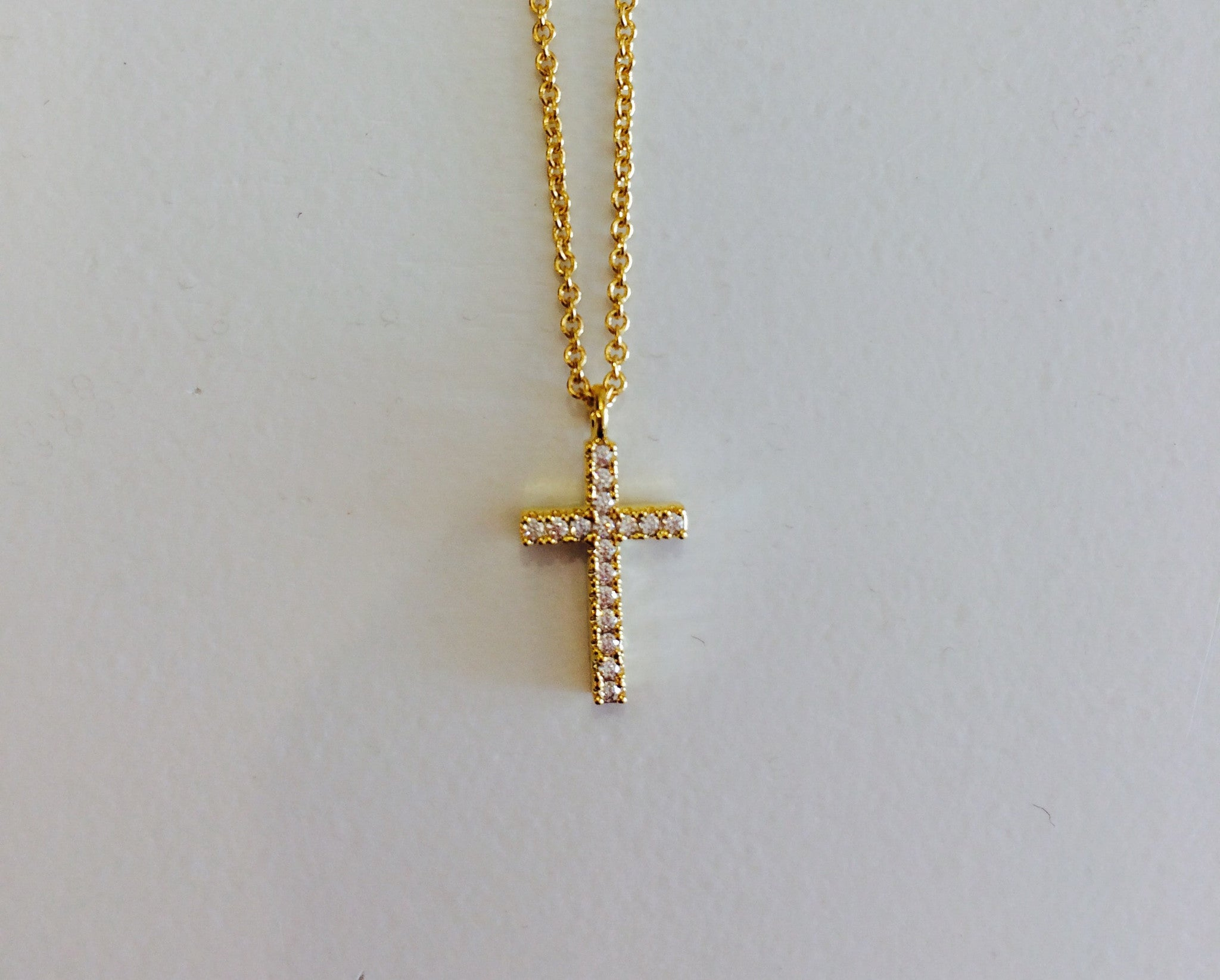 Crystal Paved Cross Necklace at Charm Boutique