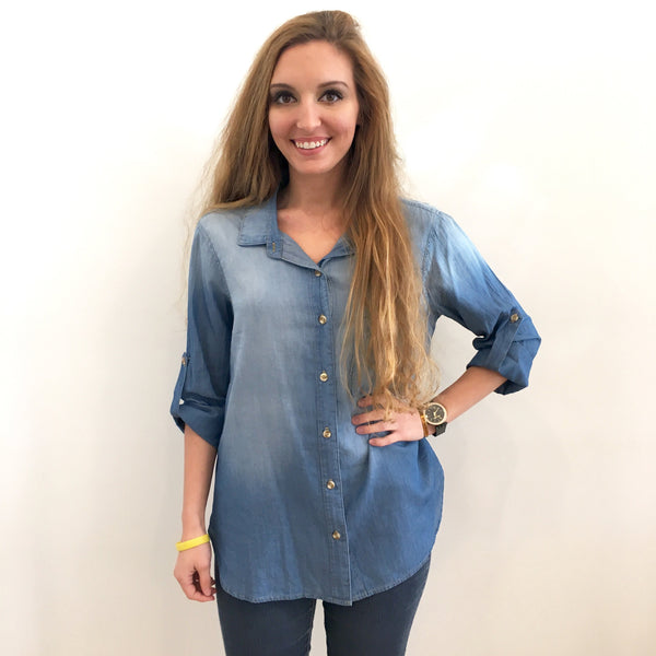 Chambray Pocket Shirt by Glam at Charm Boutique