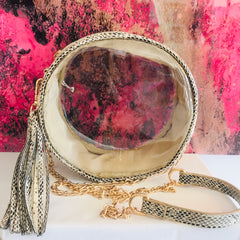 Round Animal Print Clear Bag