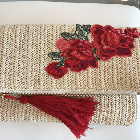 Rose Embroidered Straw Clutch or Crossbody Bag