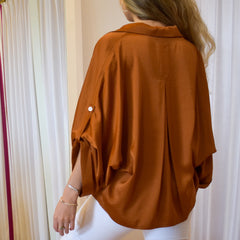 Caramel Button Down Blouse