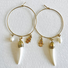 Hoop with Horn and Hamsa Earring