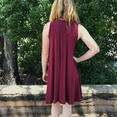 Burgundy Swing Dress at Charm Boutique Gulf Shores