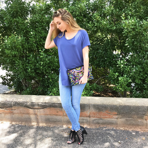 Embroidered Skinny Clutch or Crossbody Bag