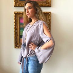 Lavender Split Sleeve Blouse by Mustard Seed at Charm Boutique