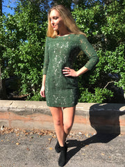 Shelby Mountain Green Lace Dress by BB Dakota at Charm Boutique