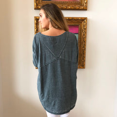 Mixed Media Burnout Top by Angie at Charm Boutique in Gulf Shores