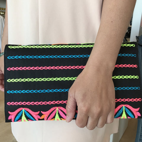 Neon Embroidered Envalope Clutch or Crossbody Bag