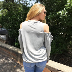 Grey French Terry Cold Shoulder Top by Staccato at Charm Boutique