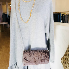 Crushed Velvet Clutch or Crossbody Bag